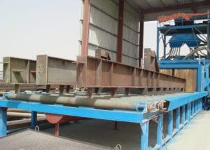 Rollenbaan voor het stralen van staalconstructies
